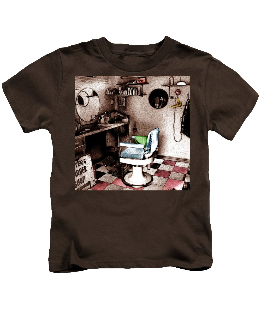 Hair Kids T-Shirt featuring the photograph Barber Shop by Andrew Fare