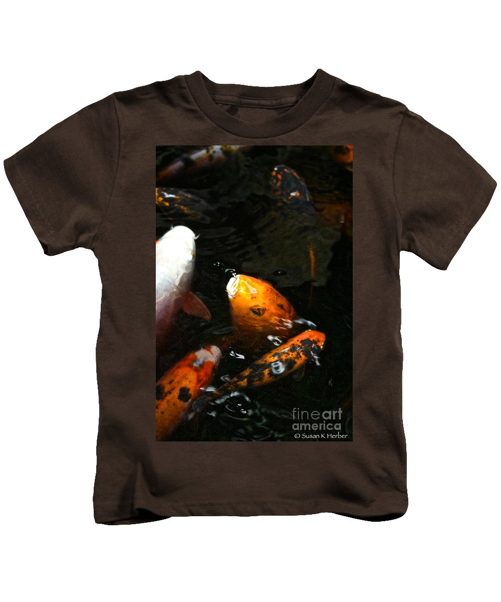 Fish Kids T-Shirt featuring the photograph Big Lip Koi Spit by Susan Herber