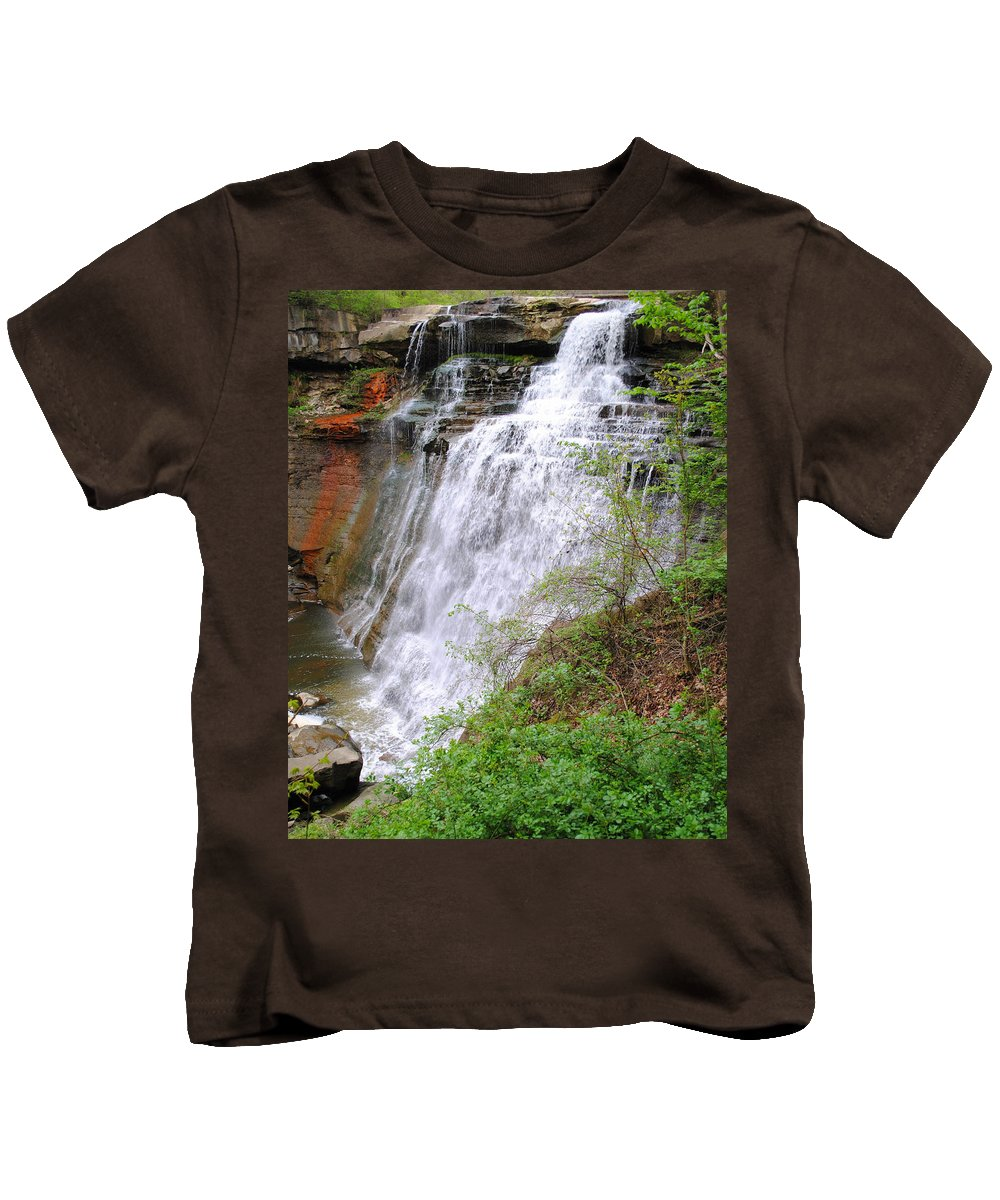 Waterfall Kids T-Shirt featuring the photograph Brides Train by Frozen in Time Fine Art Photography