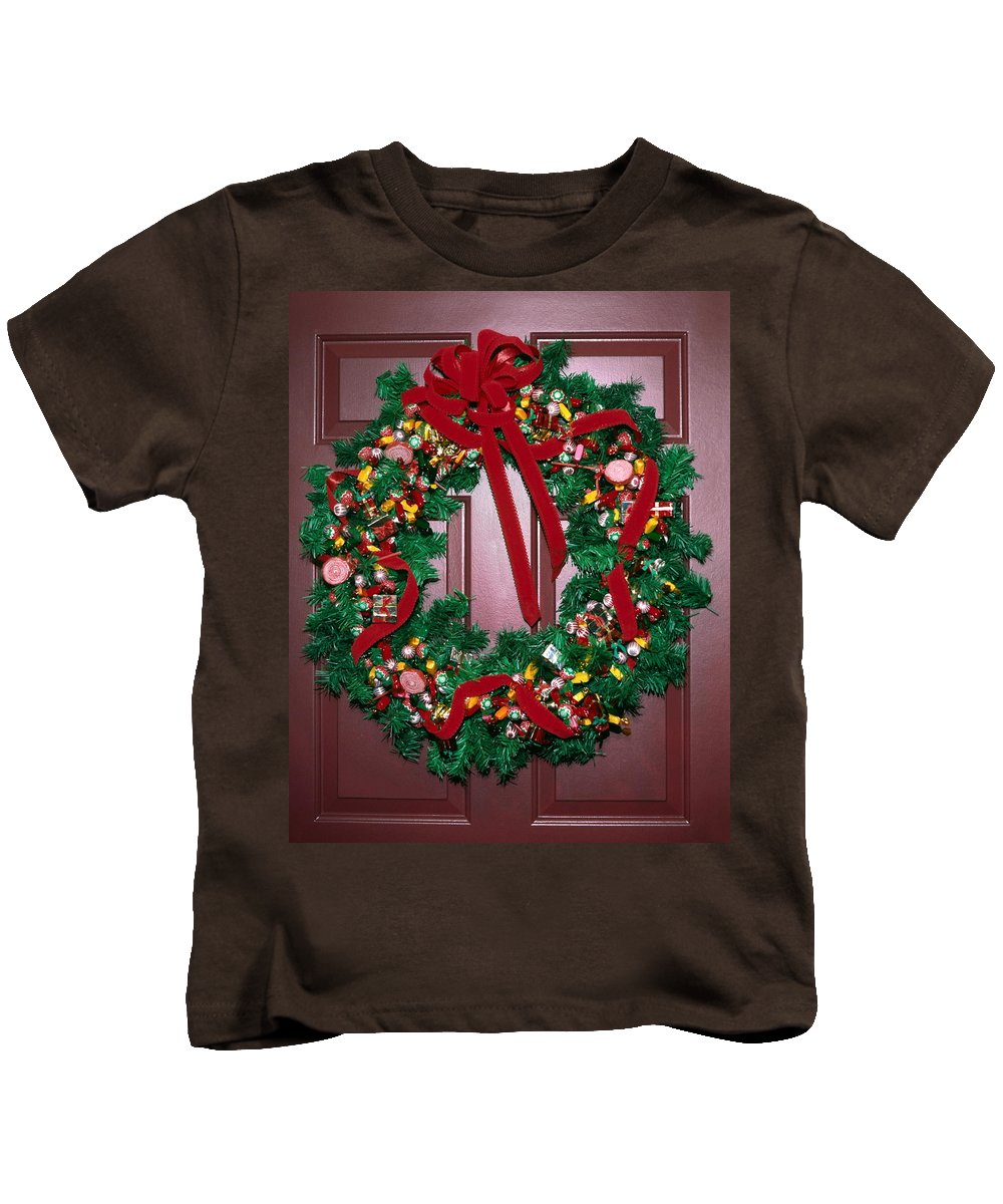 Christmas Wreath Kids T-Shirt featuring the photograph Candy Christmas Wreath by Sally Weigand