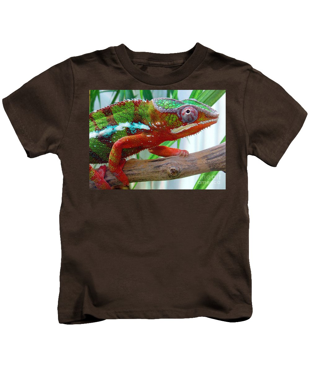Chameleon Kids T-Shirt featuring the photograph Chameleon Close Up by Nancy Mueller