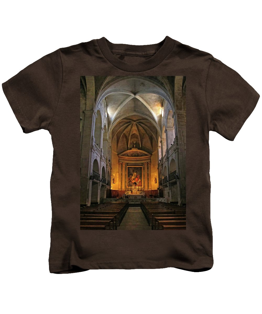 Church Kids T-Shirt featuring the photograph Church Interior Dordogne France by Dave Mills