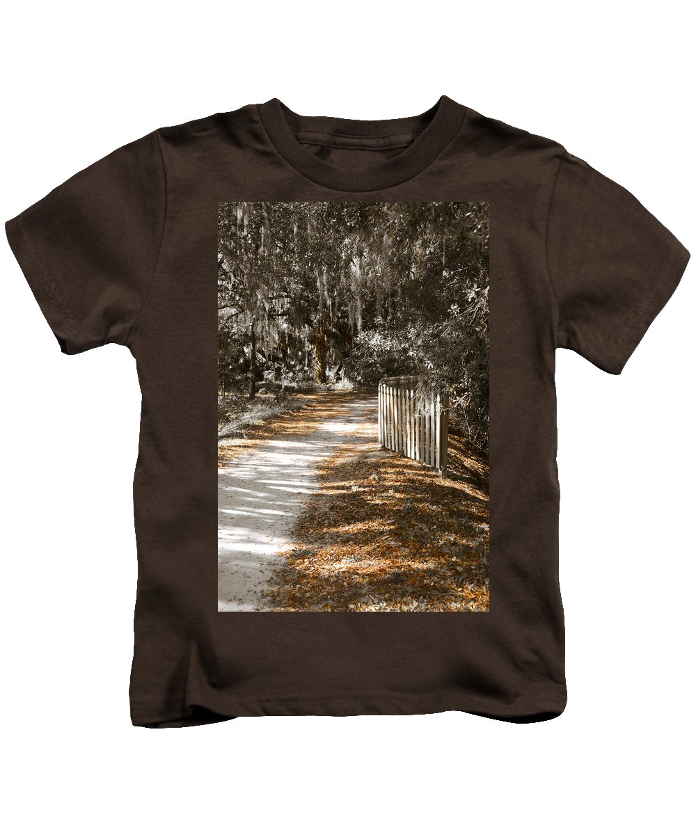 Path In Woods Kids T-Shirt featuring the photograph Come Follow Me by Carolyn Marshall