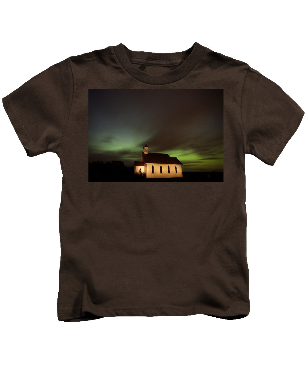 Church Kids T-Shirt featuring the digital art Country Church Night Photography by Mark Duffy