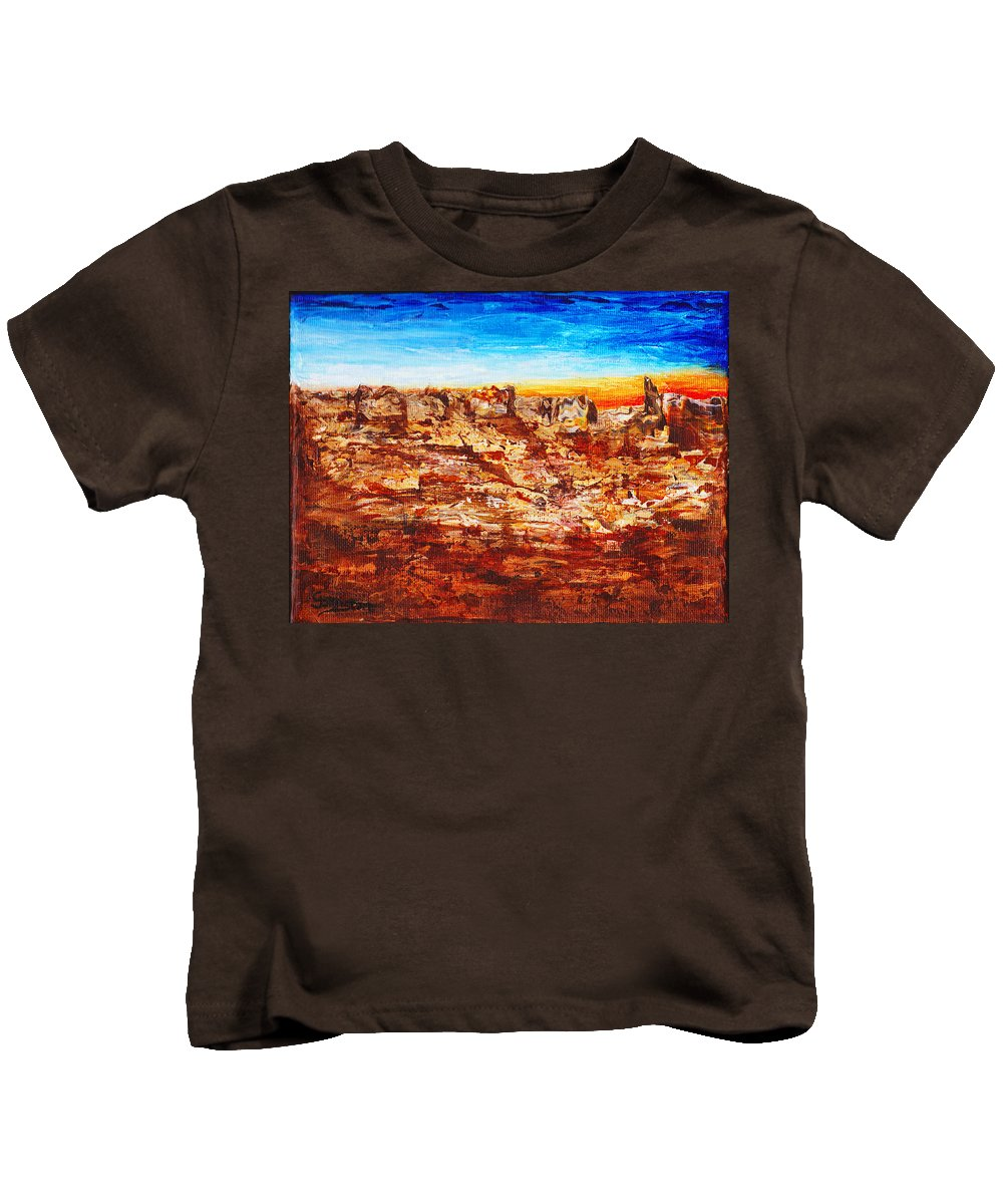 Canyon Kids T-Shirt featuring the painting Coyotes Are Calling by Cindy Johnston