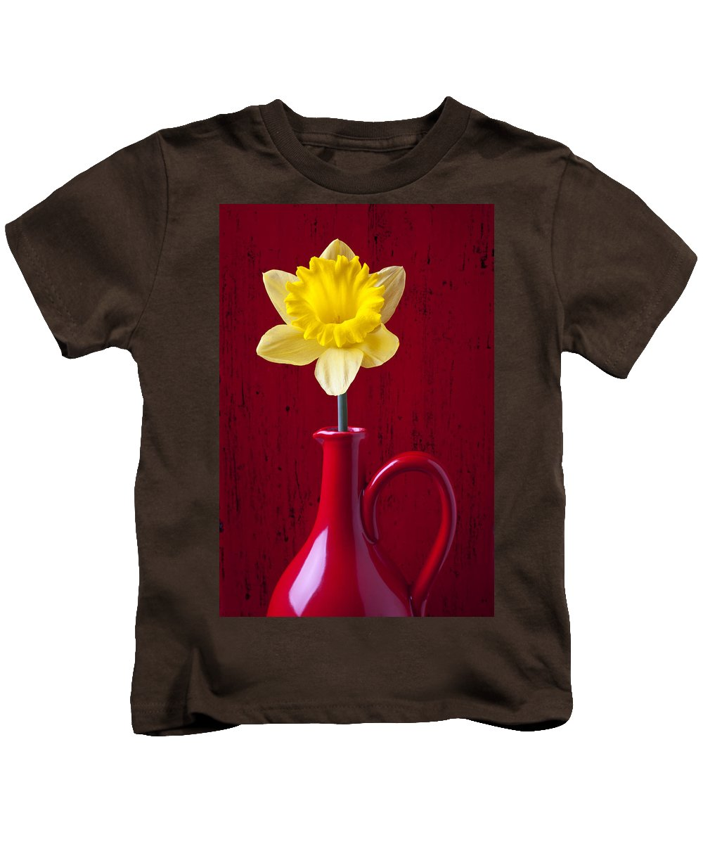 Yellow Kids T-Shirt featuring the photograph Daffodil In Red Pitcher by Garry Gay