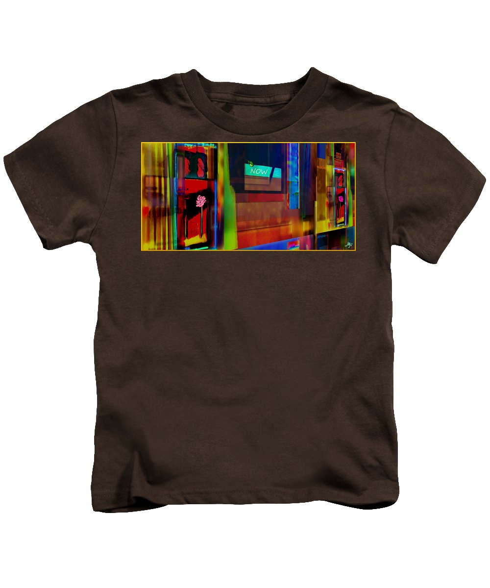 Abstract Kids T-Shirt featuring the painting Dwellings Iv by Mathilde Vhargon