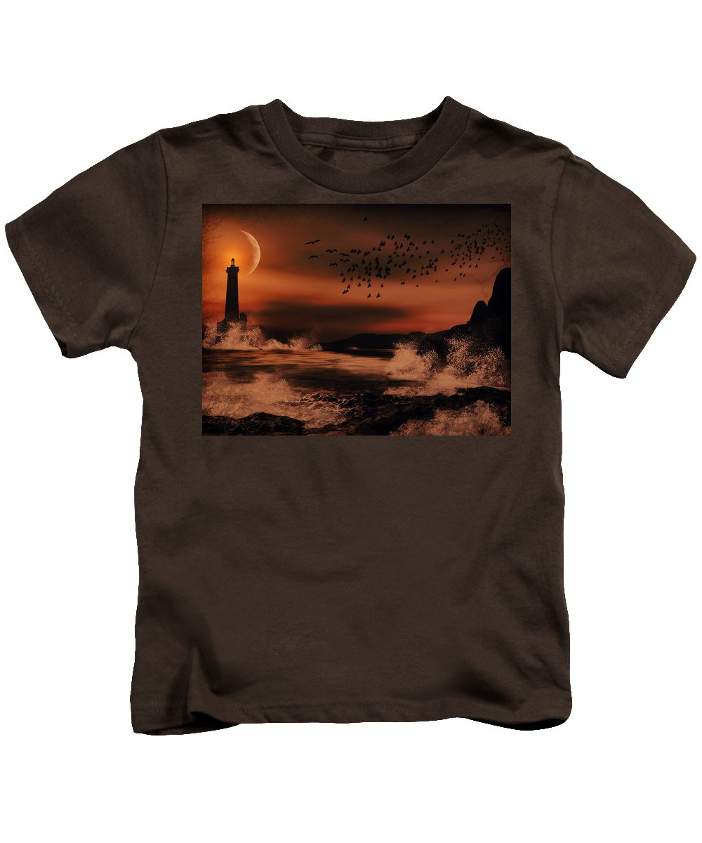 Lighthouse Kids T-Shirt featuring the photograph Episode In The Night by Lourry Legarde