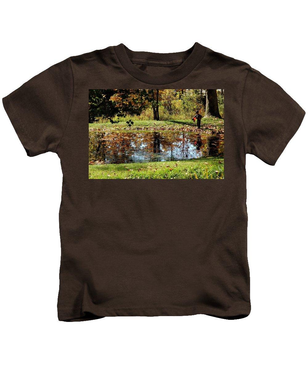 Usa Kids T-Shirt featuring the photograph Fall Frogging Got One by LeeAnn McLaneGoetz McLaneGoetzStudioLLCcom