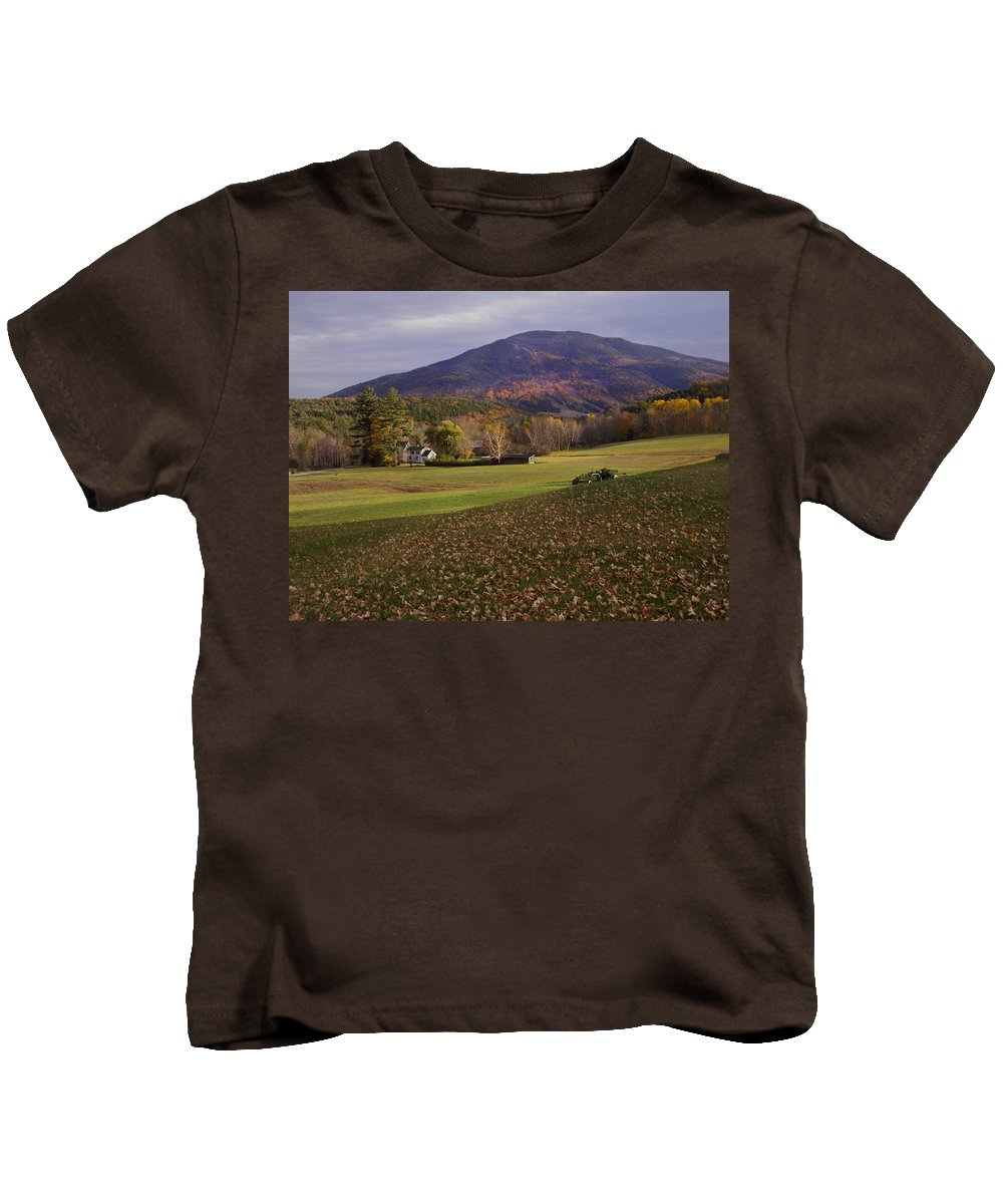 Farm Kids T-Shirt featuring the photograph Farm By Ascutney Mountain Vermont by Nancy Griswold