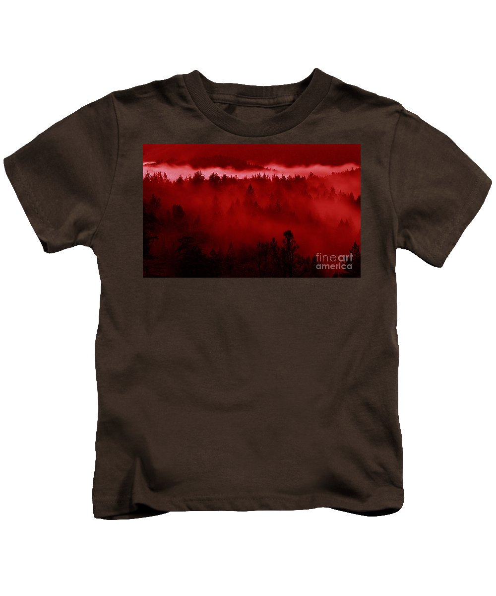 Fire Kids T-Shirt featuring the mixed media Fiery Forest by Mike Nellums