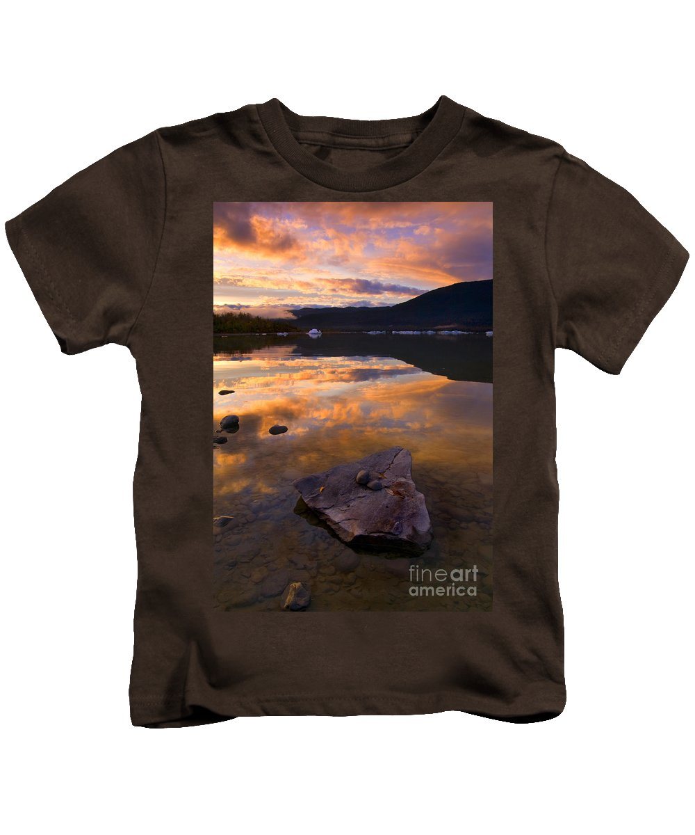 Lake Kids T-Shirt featuring the photograph Fire And Ice by Mike Dawson