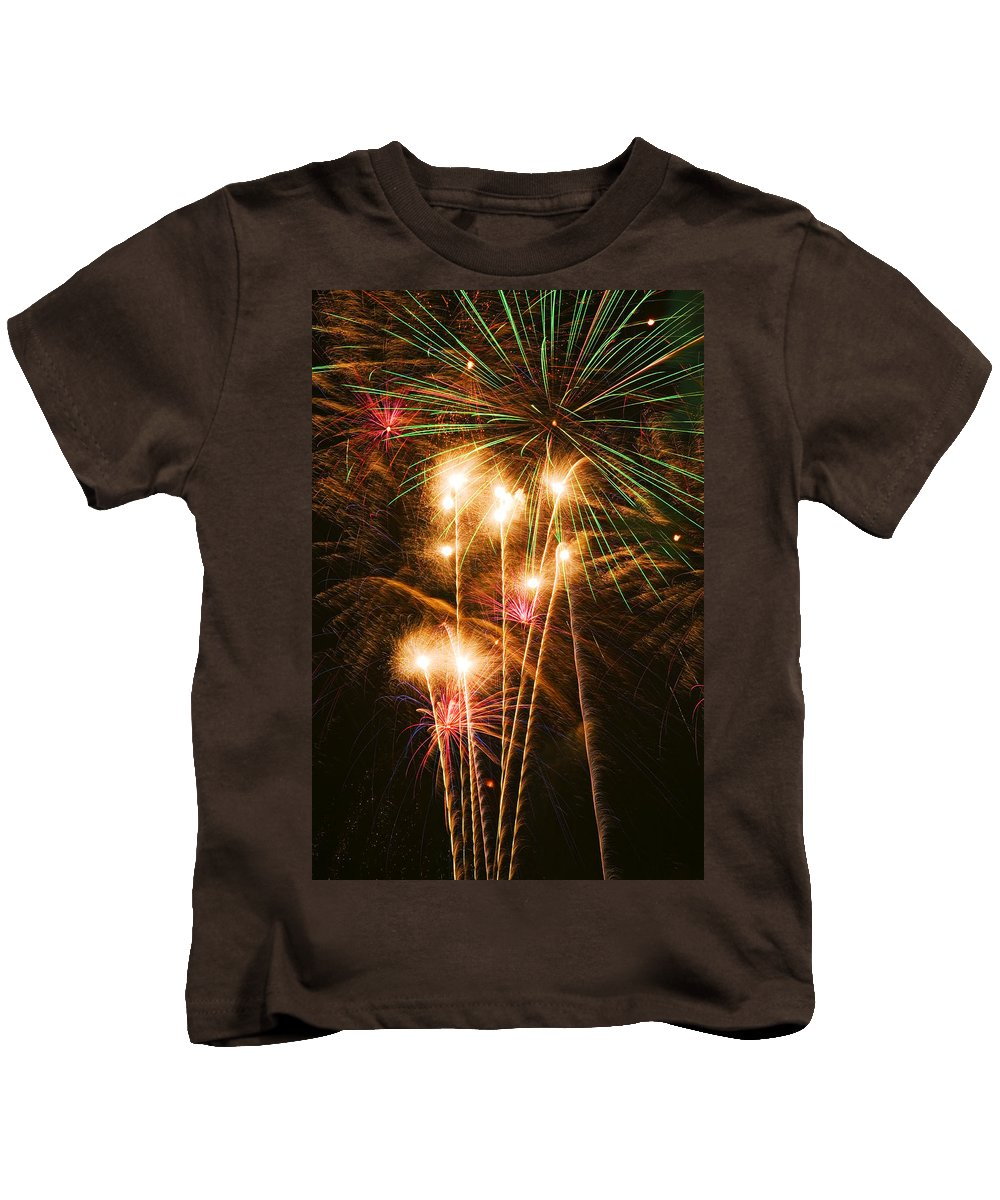 4th Of July Kids T-Shirt featuring the photograph Fireworks In Night Sky by Garry Gay