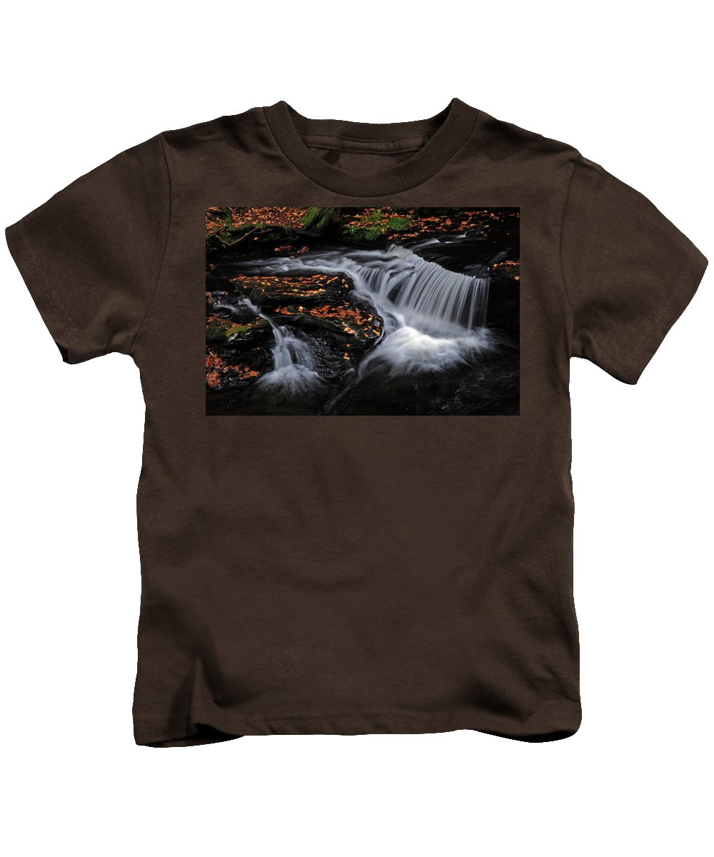 Stream Kids T-Shirt featuring the photograph Flowing Through Fall Color by Dave Mills