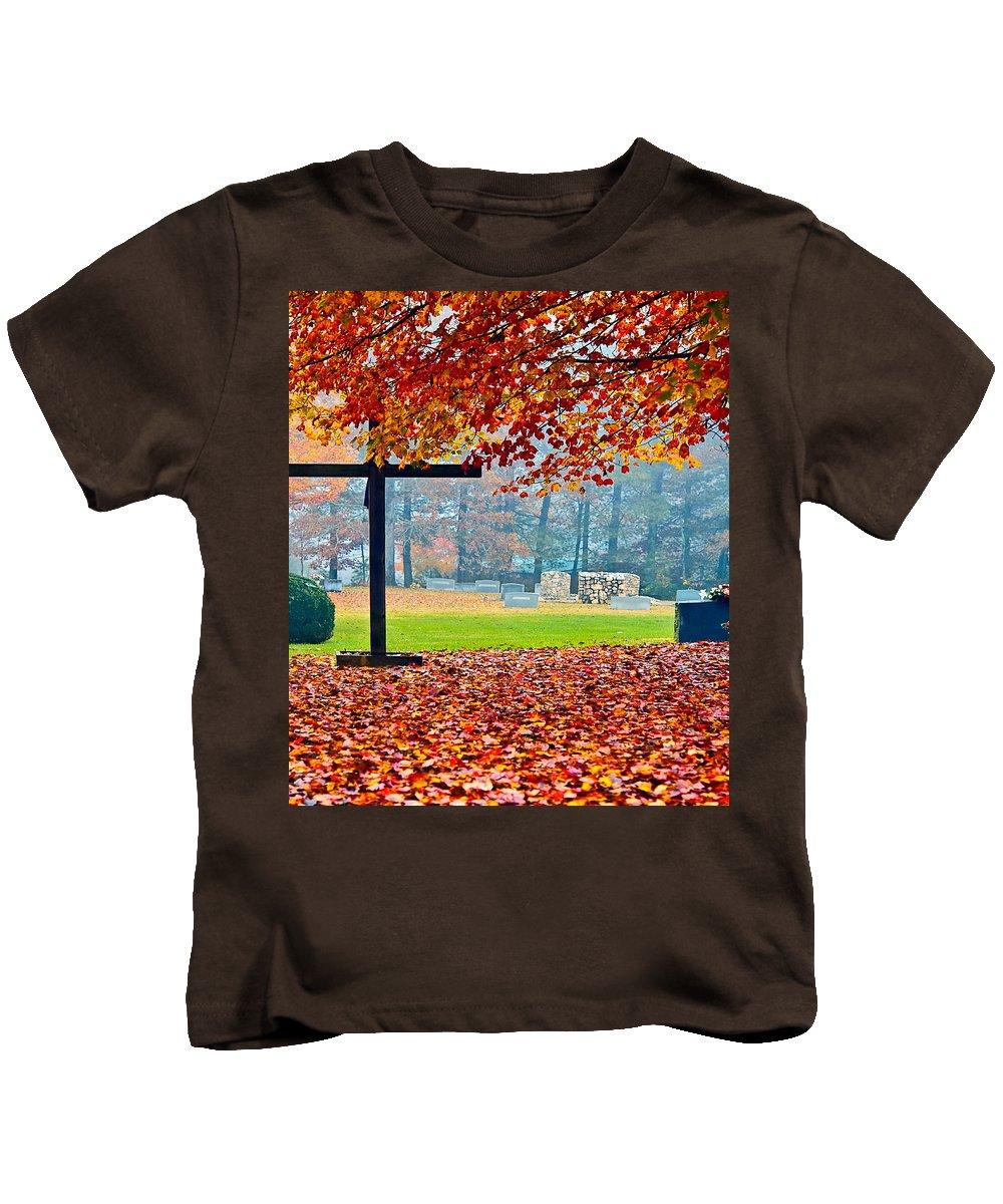 Cemetery Kids T-Shirt featuring the photograph Foggy Autumn Cemetery by Susan Leggett