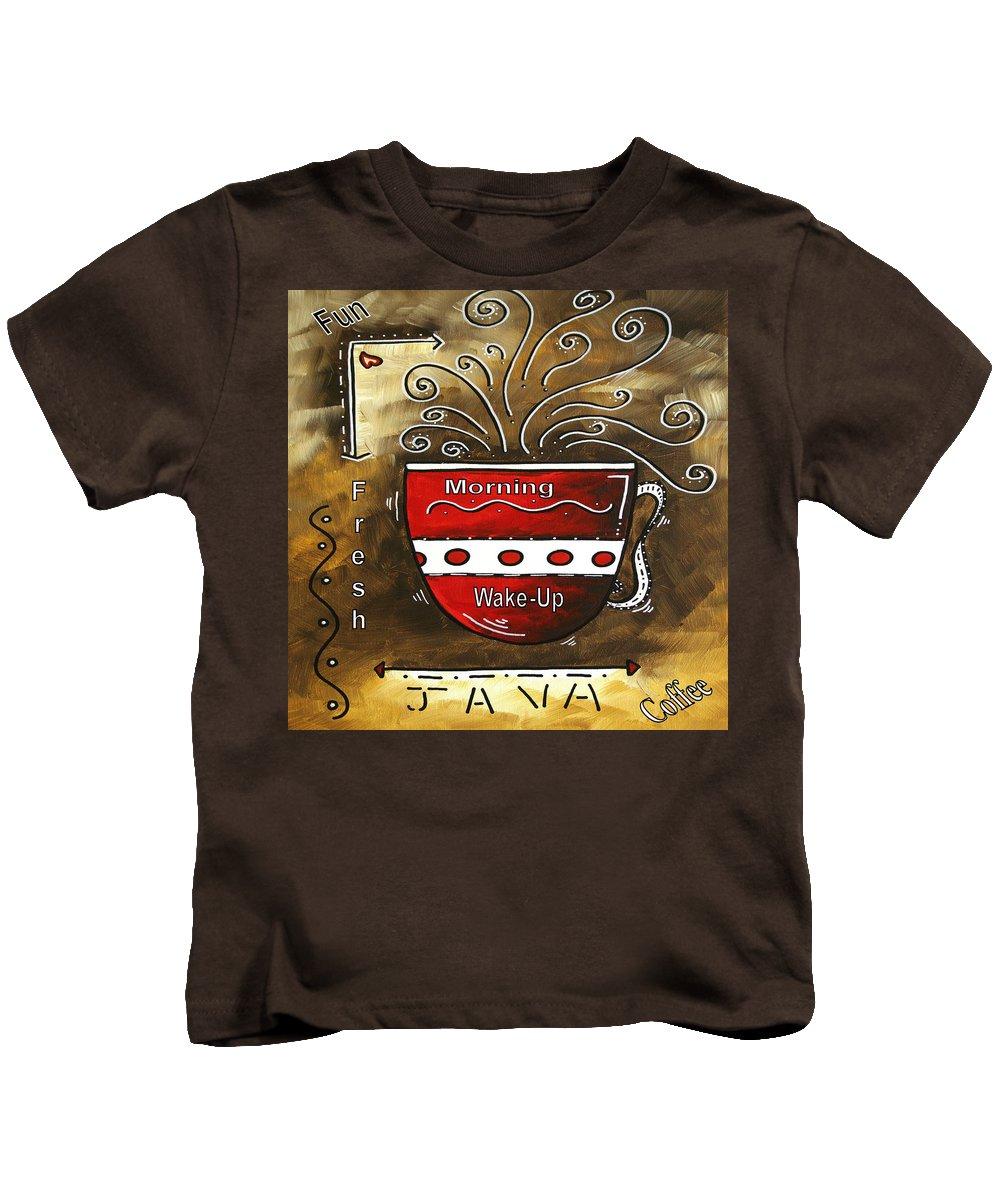 Original Kids T-Shirt featuring the painting Fresh Java Original Painting by Megan Duncanson