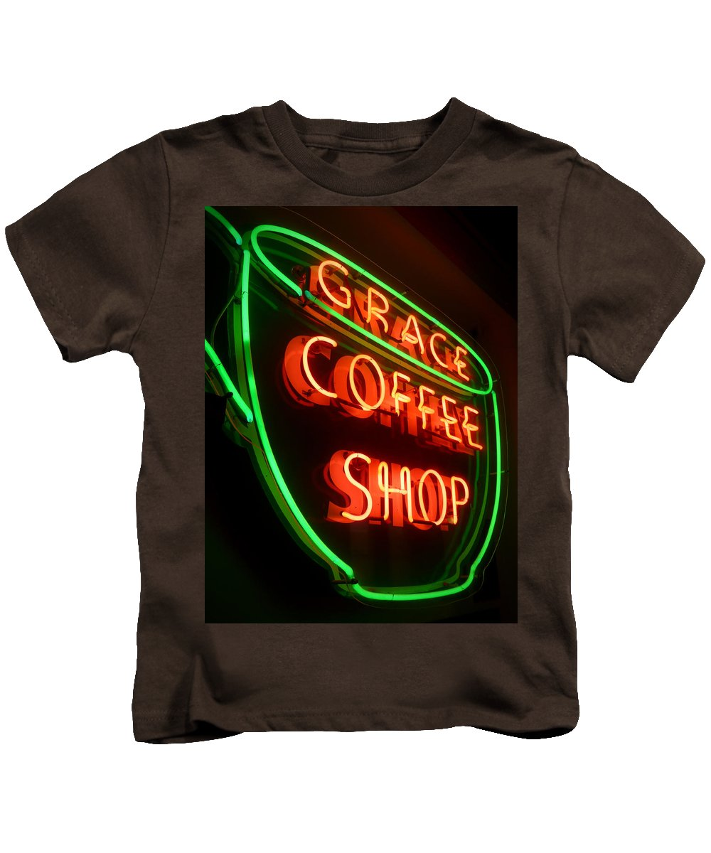 Grace Kids T-Shirt featuring the photograph Grace Coffee Shop Neon by Tim Nyberg
