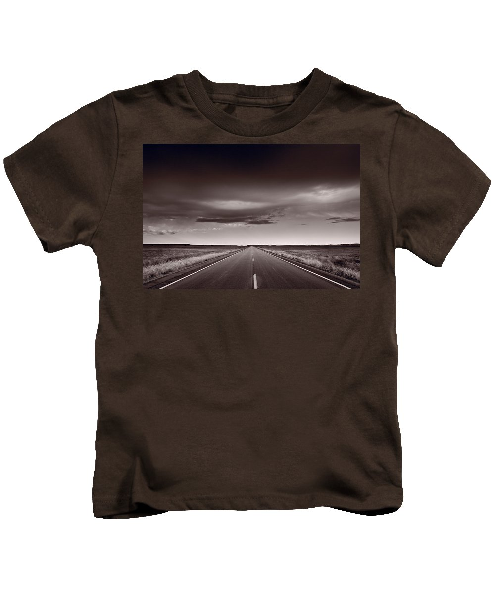 Road Kids T-Shirt featuring the photograph Great Plains Road Trip Bw by Steve Gadomski