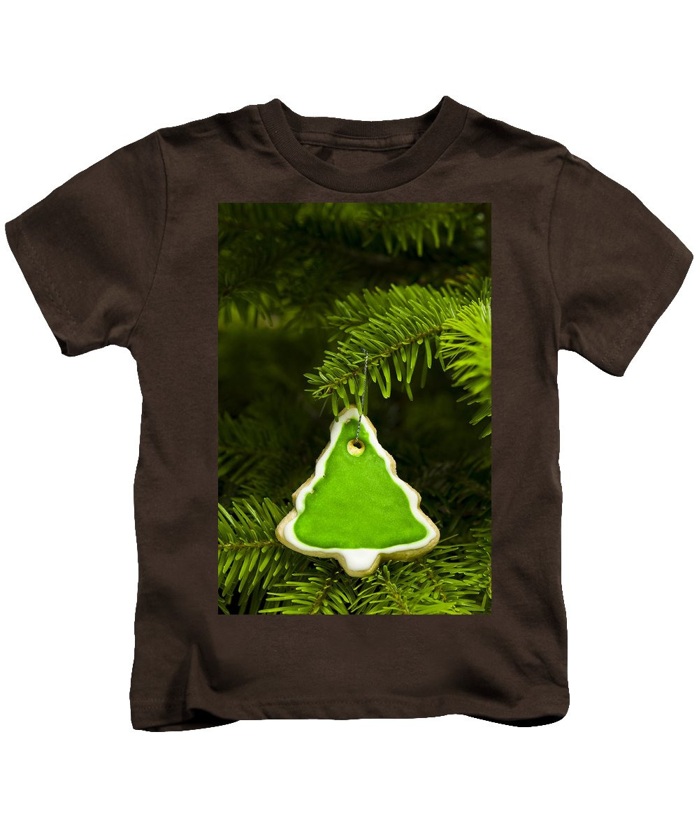 Background Kids T-Shirt featuring the photograph Green Branches Of A Christmas Tree by U Schade