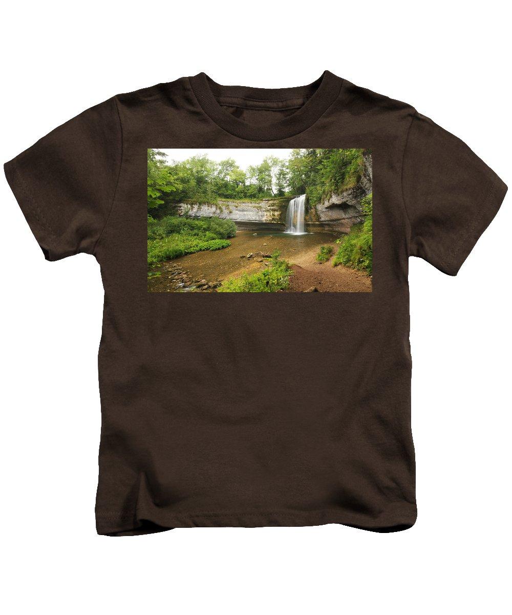 Cascade Kids T-Shirt featuring the photograph Herisson Waterfalls by Mircea Costina Photography