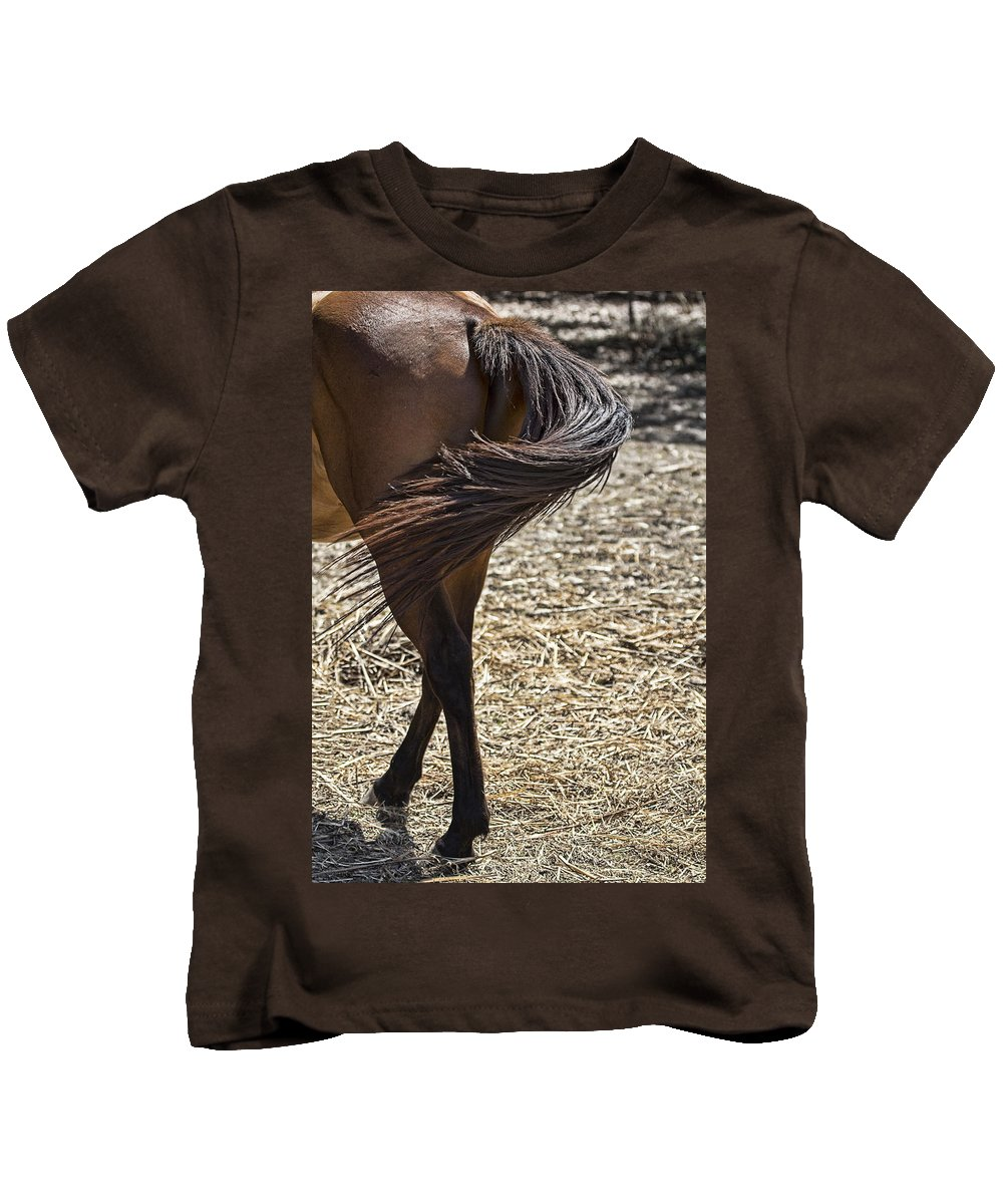 Horse Kids T-Shirt featuring the photograph Horse With No Name V4 by Douglas Barnard