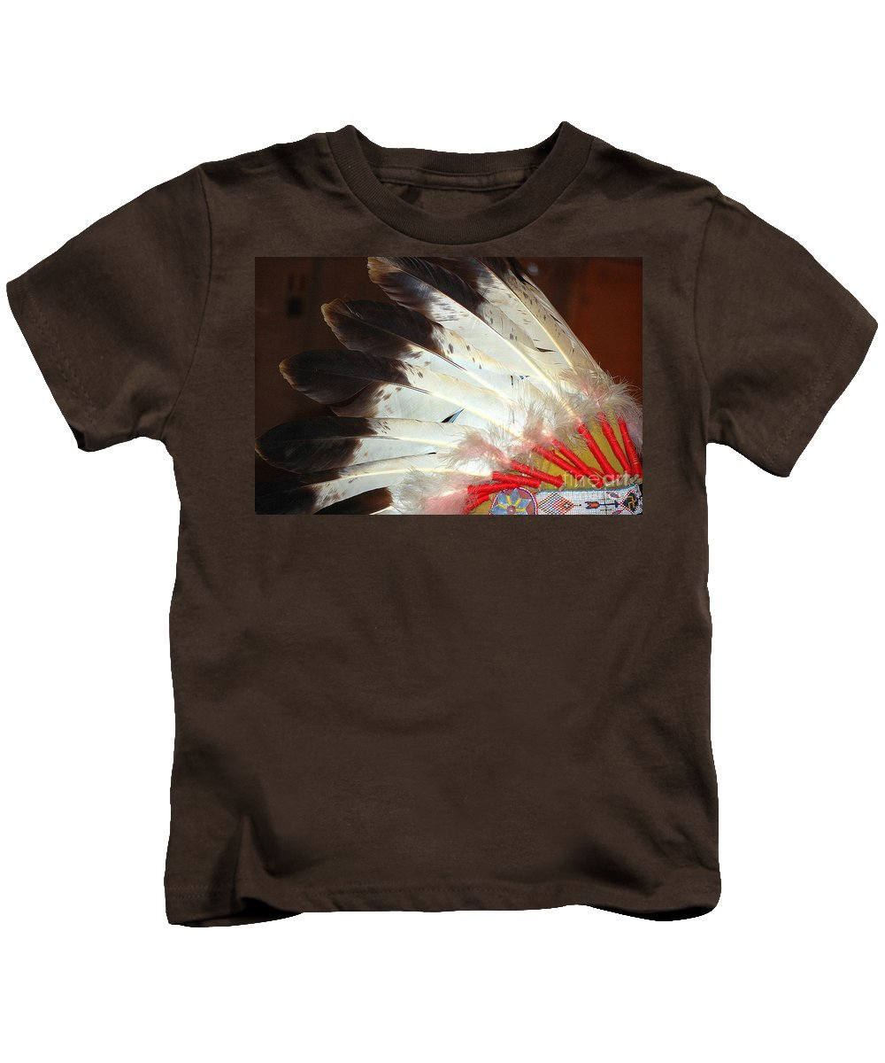 Native American Headdress Kids T-Shirt featuring the photograph Native American War Bonnet by Anjanette Douglas