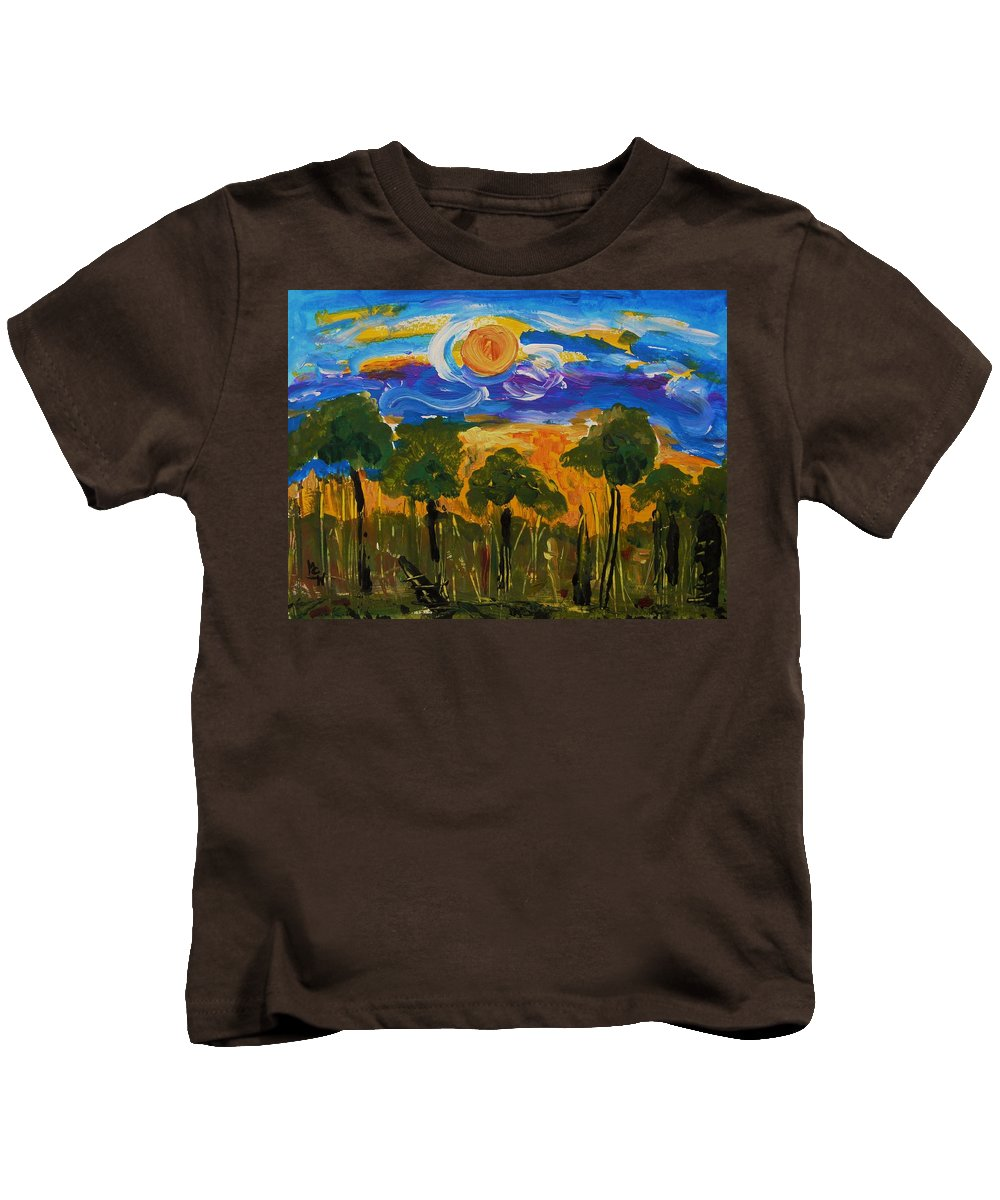 Sun Kids T-Shirt featuring the painting Intense Sky And Landscape by Mary Carol Williams
