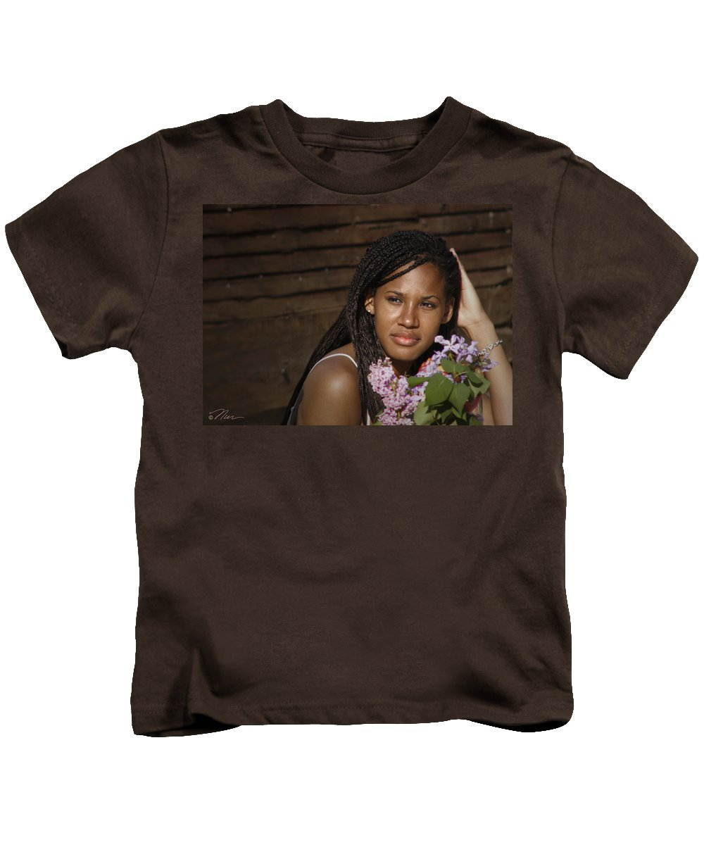 Woman Kids T-Shirt featuring the photograph Katie The Beautiful Woman by Nancy Griswold