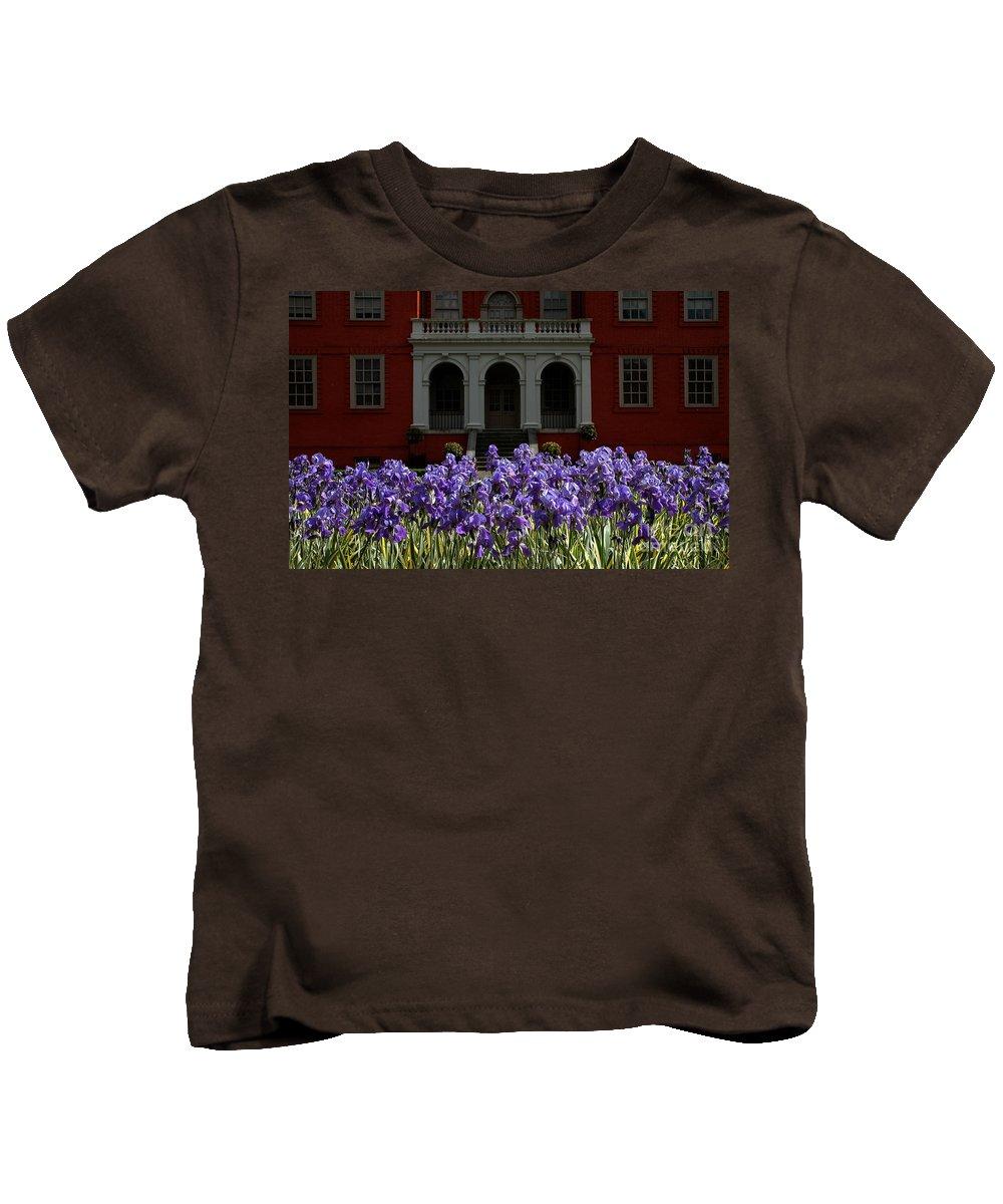 Kew Garden Kids T-Shirt featuring the photograph Kew Garden Irises by Mike Nellums