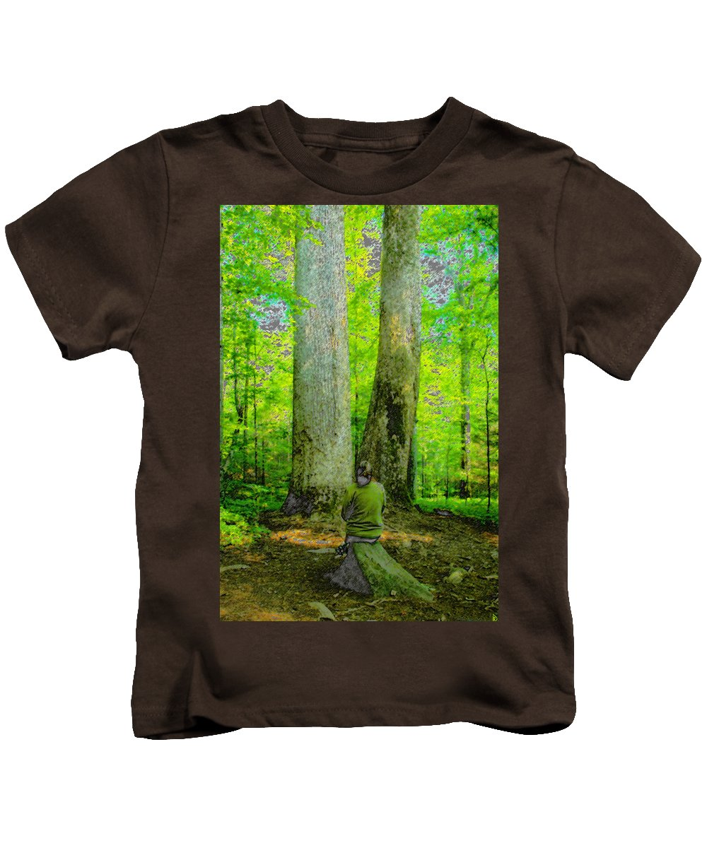Art Kids T-Shirt featuring the painting Lady In The Woods by David Lee Thompson