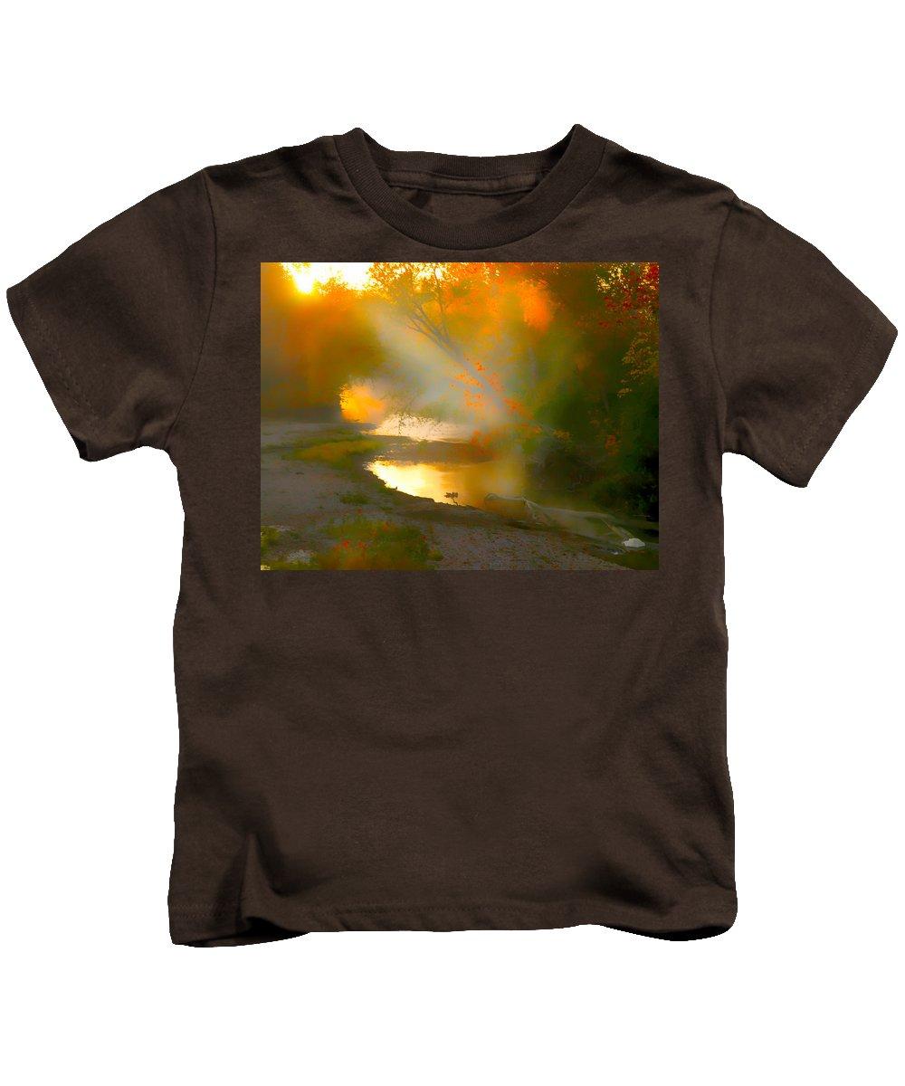 Light In Creek Kids T-Shirt featuring the photograph Light Up The Creek by Randall Branham