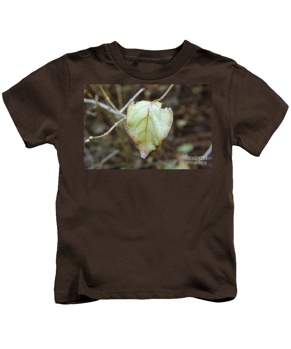 Leaves Kids T-Shirt featuring the photograph Like The Last Brave Soldier by Jeff Swan