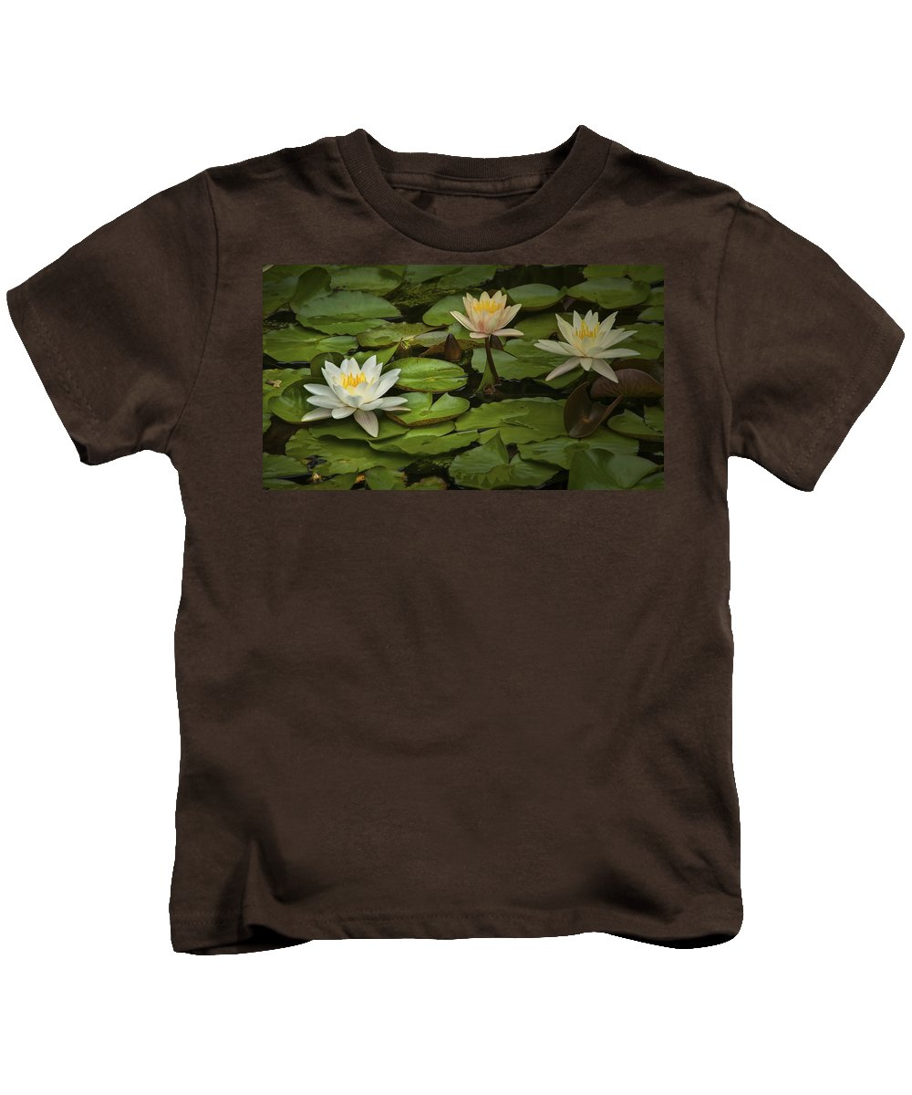 Art Kids T-Shirt featuring the photograph Lily Pads And Blossoms. No186 by Randall Nyhof