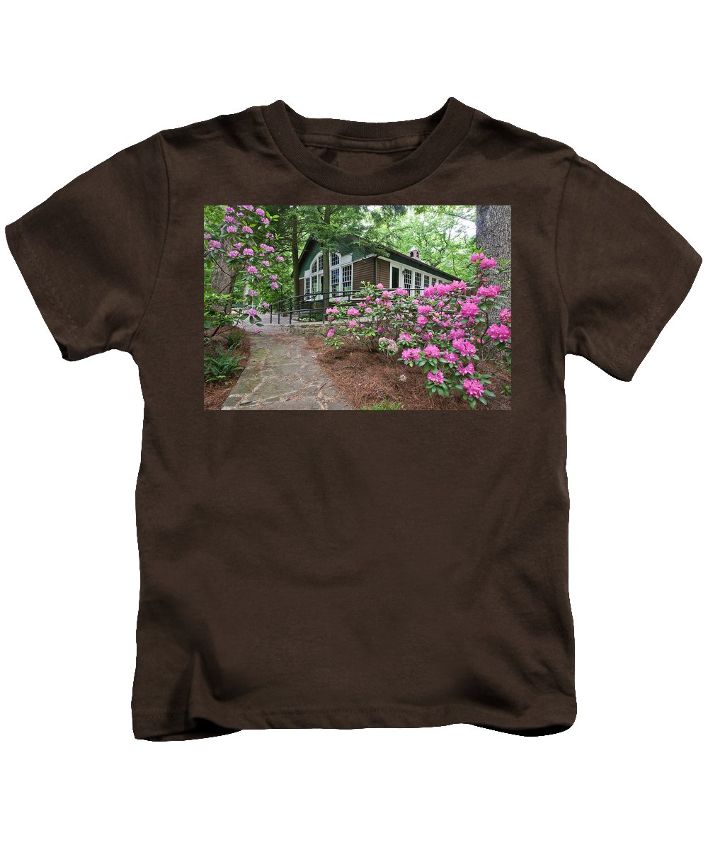 Church Kids T-Shirt featuring the photograph Little Brown Church In Spring by Tom and Pat Cory