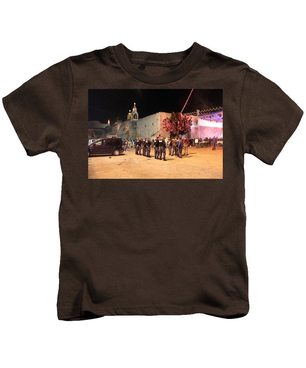 Nativity Kids T-Shirt featuring the photograph Manger Square At Night by Munir Alawi