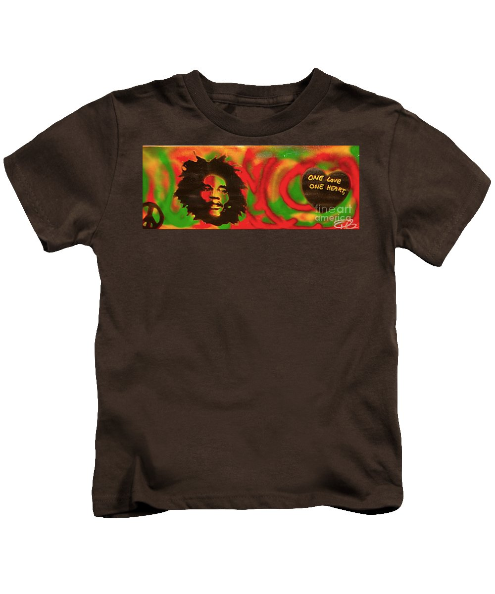 Hip Hop Kids T-Shirt featuring the painting Marley Love by Tony B Conscious