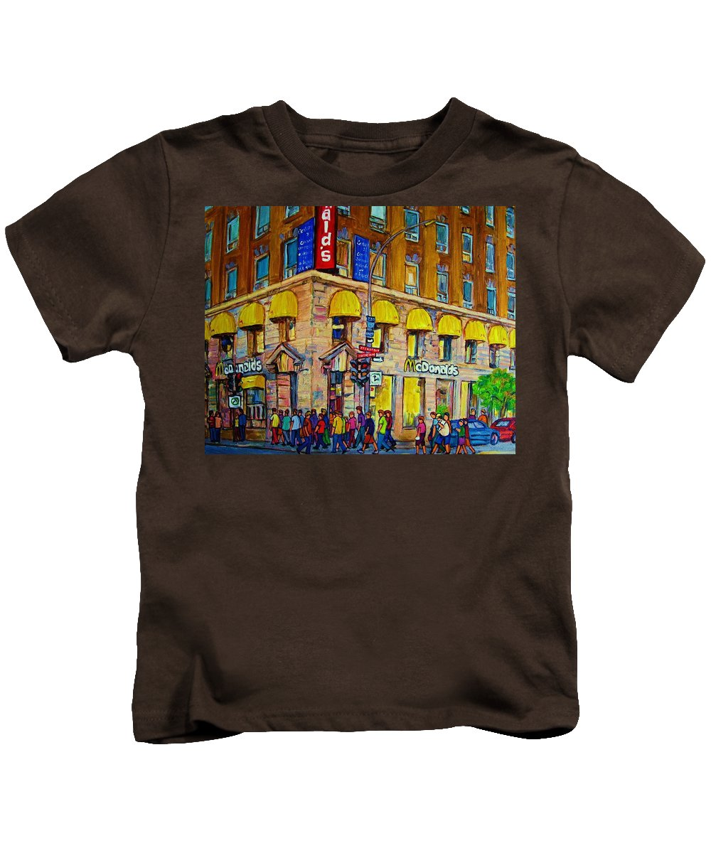Mcdonald Restaurant Montreal Kids T-Shirt featuring the painting Mcdonald by Carole Spandau