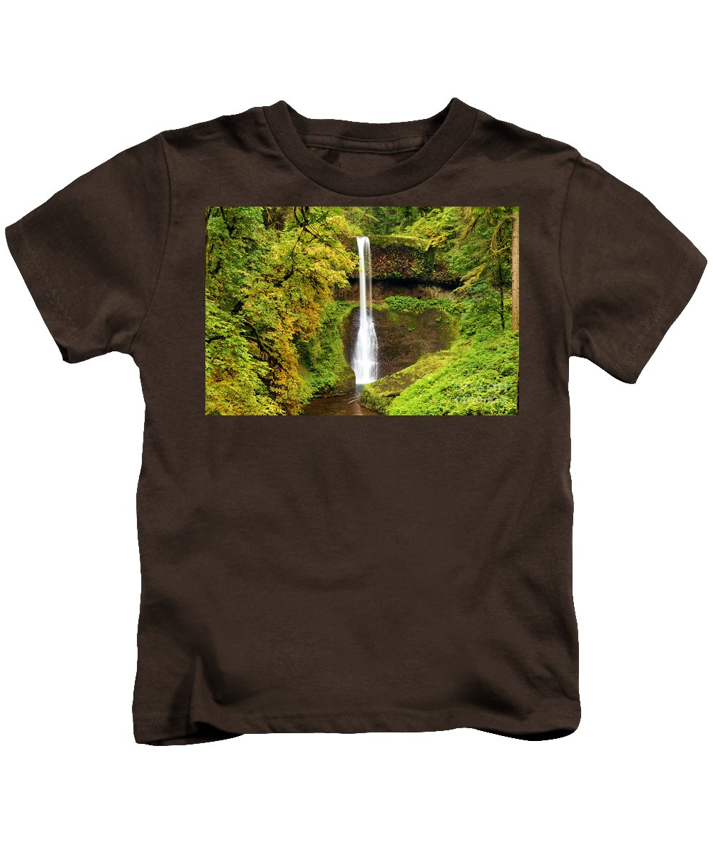 Silver Falls Kids T-Shirt featuring the photograph Middle North Falls by Adam Jewell