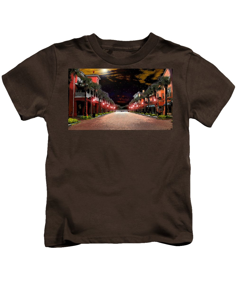 Art Kids T-Shirt featuring the painting Midnight Halloween by David Lee Thompson