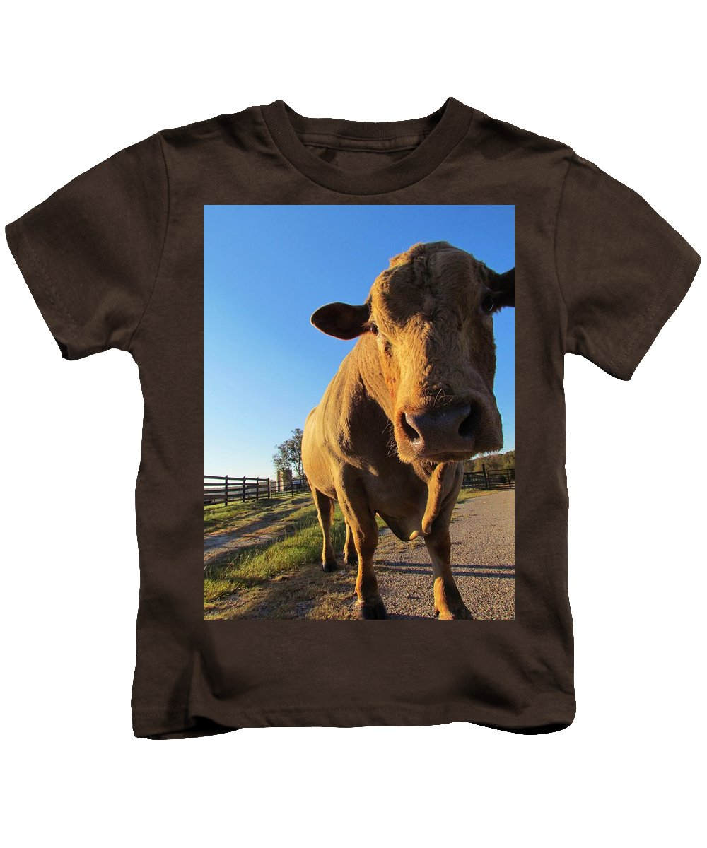 Cow Kids T-Shirt featuring the photograph Mooo-ve Over by Ginger Adams