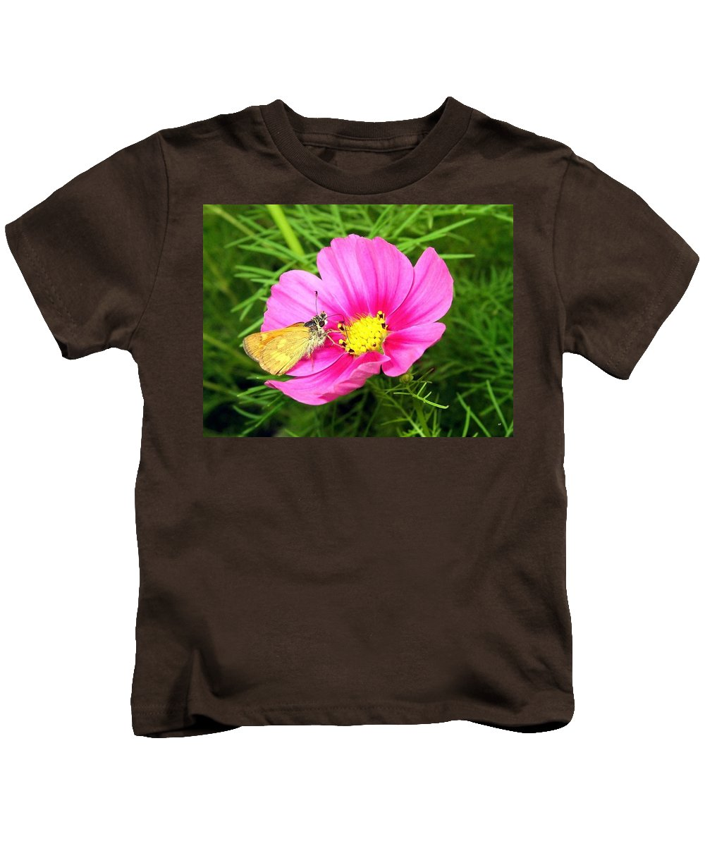 Moth Kids T-Shirt featuring the photograph Moth On A Cosmos by Will Borden
