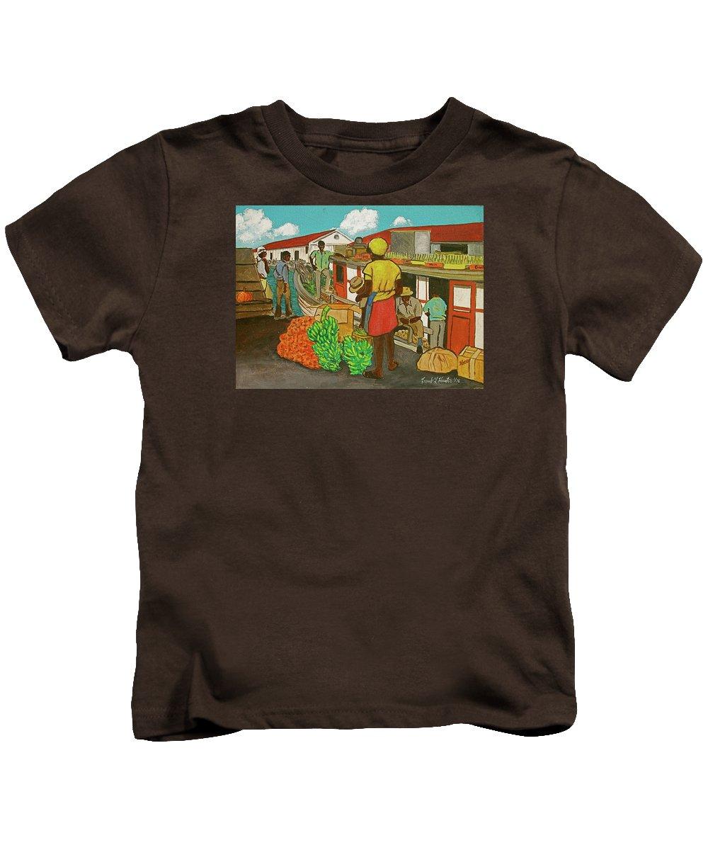 Nassau Bahamas Boat Fruit Bananas Workmen Girl Yellow Hat Shirt Red Skirt Kids T-Shirt featuring the painting Nassau Fruit Boat by Frank Hunter