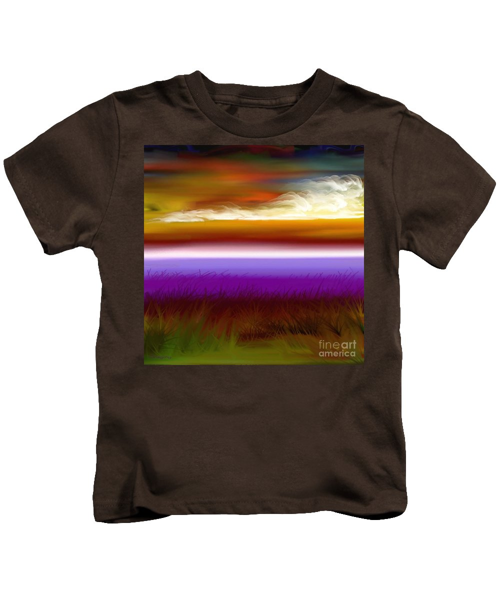 Sunset Kids T-Shirt featuring the digital art Night Falls by Greg Moores