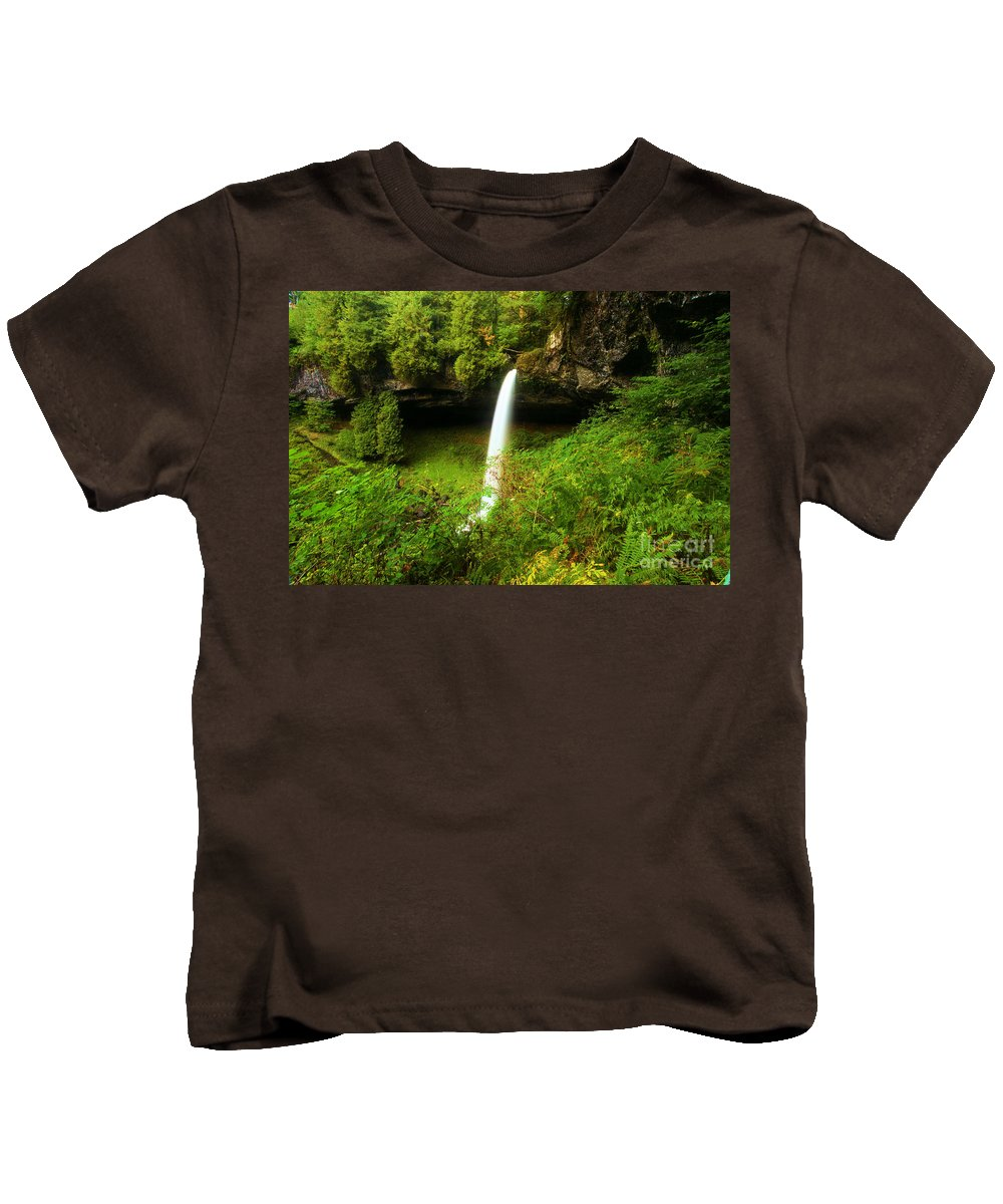 Silver Falls State Park Kids T-Shirt featuring the photograph North Falls Canyon by Adam Jewell