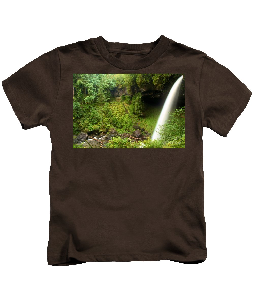 North Falls Kids T-Shirt featuring the photograph North Falls Waterfall by Adam Jewell