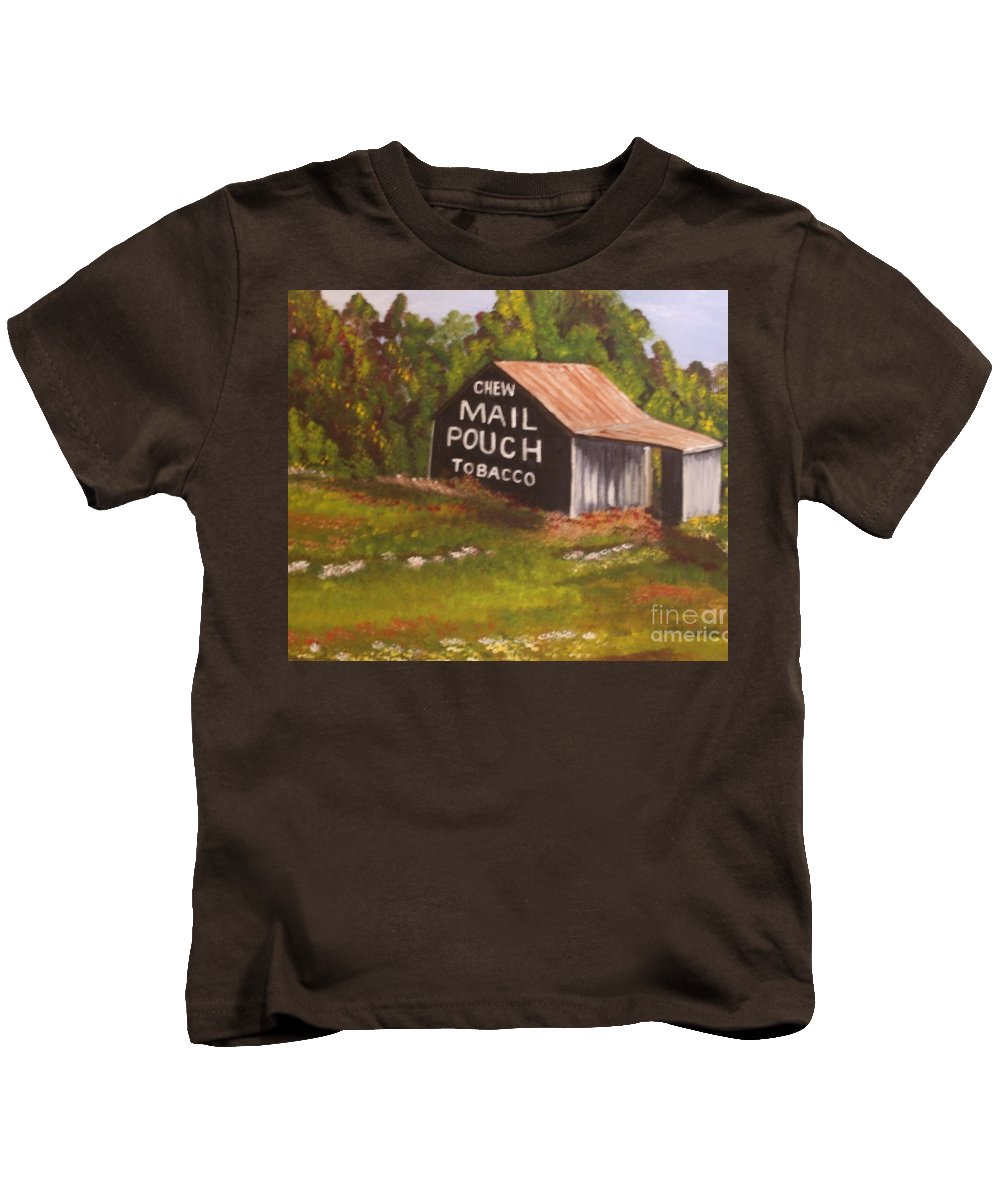 Landscape Kids T-Shirt featuring the painting Ohio Mail Pouch Barn by Evelyn Froisland