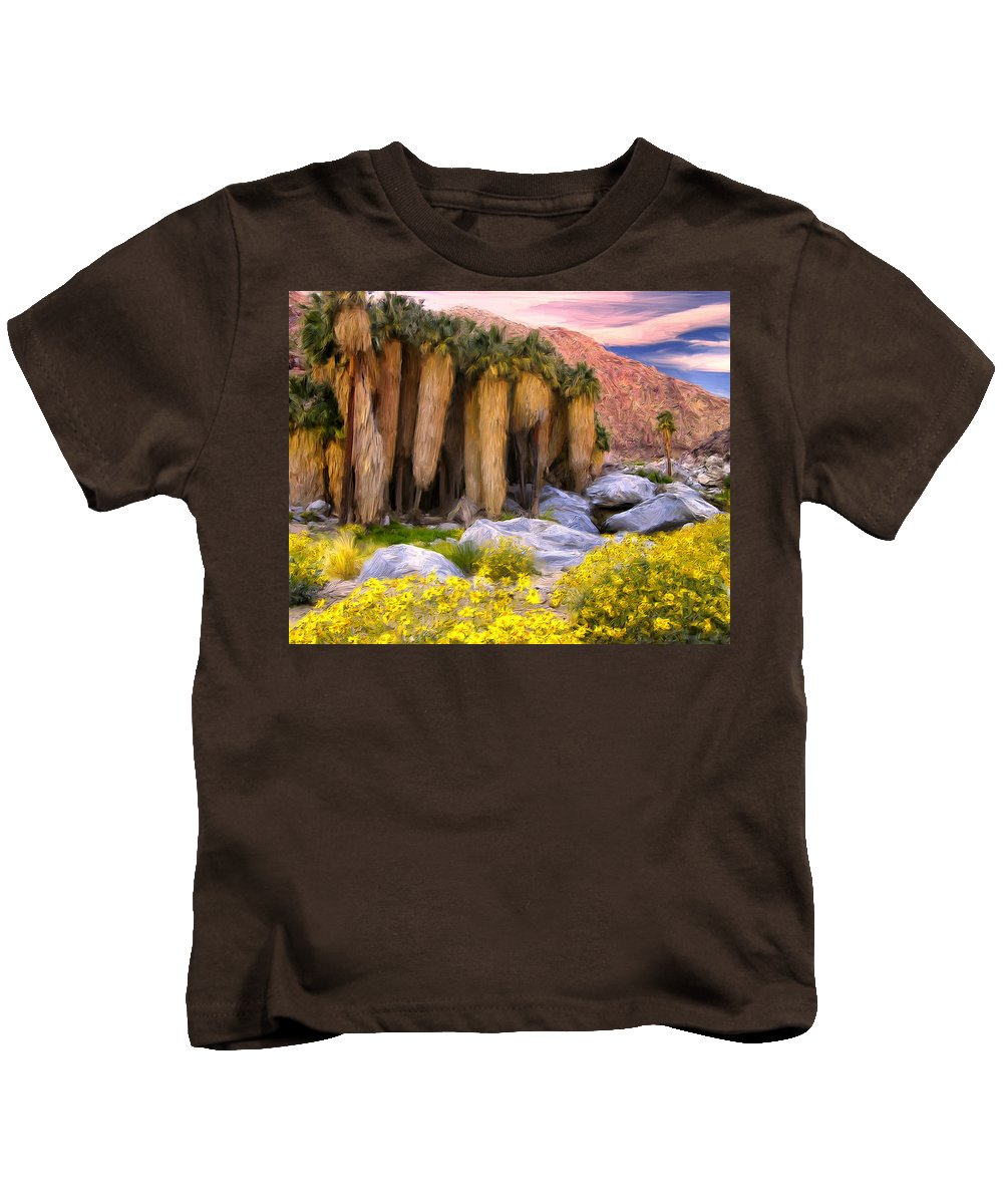 Palm Oasis Kids T-Shirt featuring the painting Palm Oasis And Wildflowers by Dominic Piperata