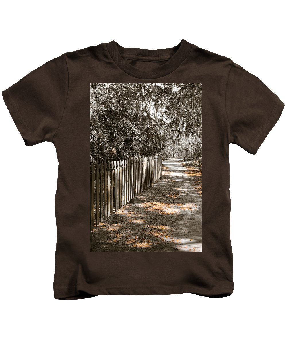 Path In Woods Kids T-Shirt featuring the photograph Path Along The Fence by Carolyn Marshall