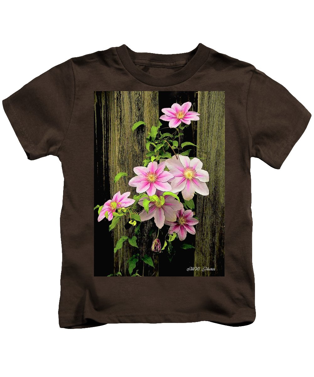Pink Climatis Kids T-Shirt featuring the photograph Pink Climatis Flower by Bonnie Willis