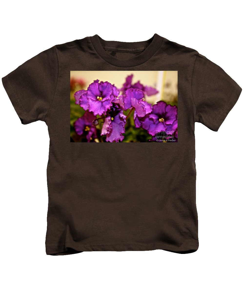 African Violet Blossom Kids T-Shirt featuring the photograph Purple And More Purple by Susan Herber